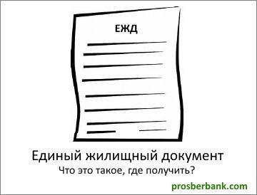 Единый жилищный документ что это такое
